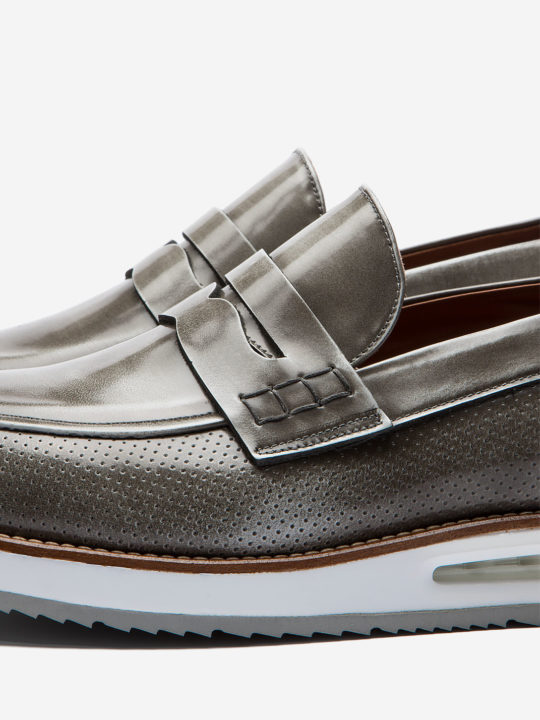 Air Moccasin Grey Brushed Leather