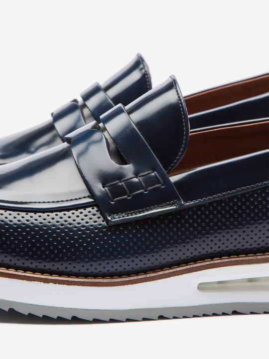 Air Moccasin Blue Brushed Leather