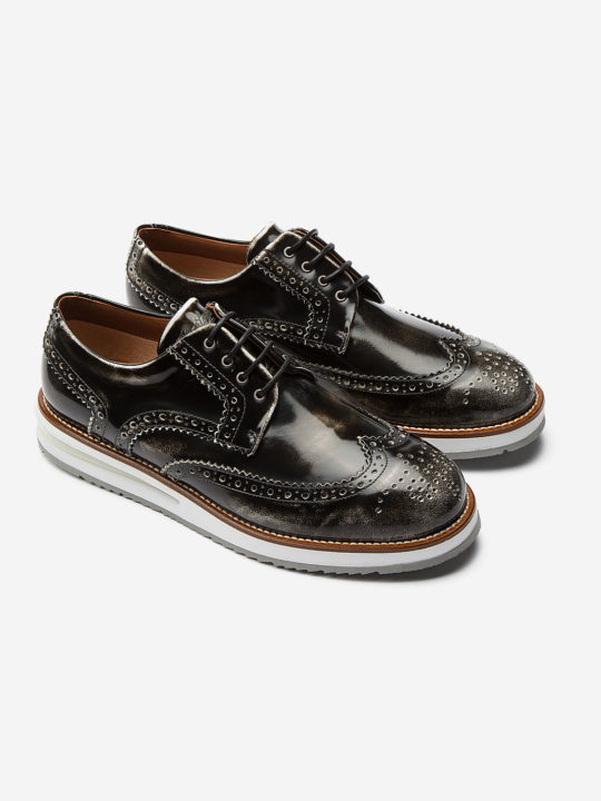 Air Brogue Black Brushed Leather