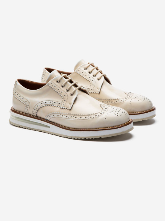 Air Brogue White Brushed Leather
