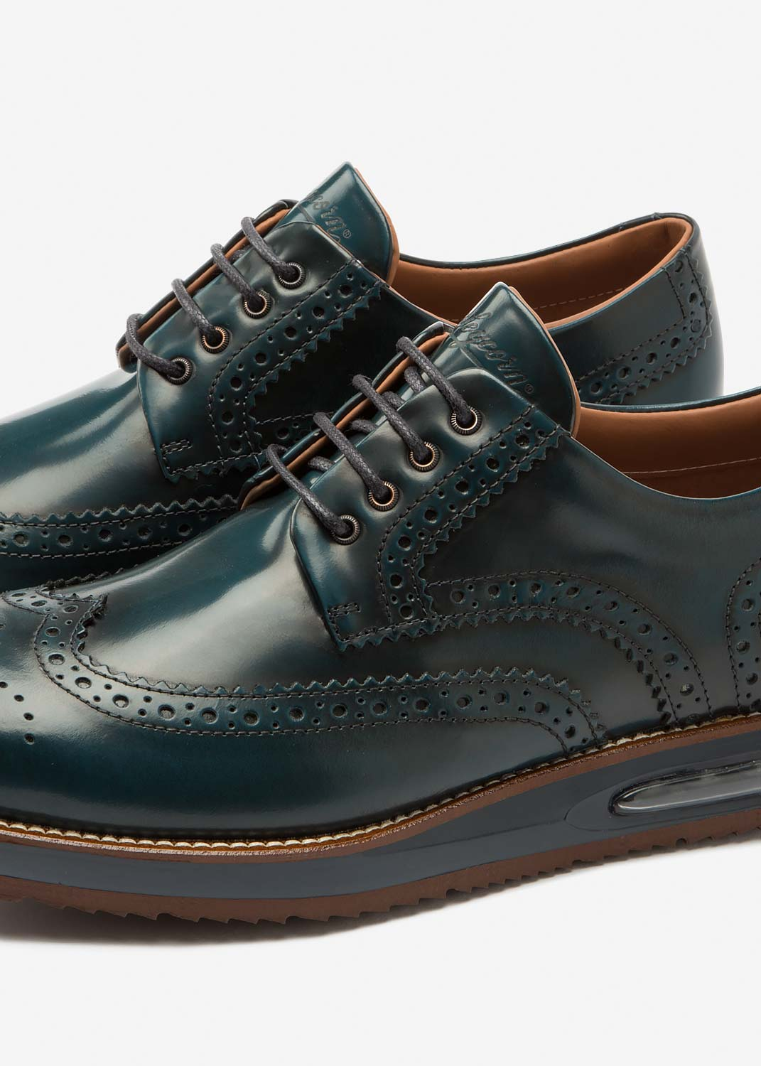 Air Brogue Petrol Leather